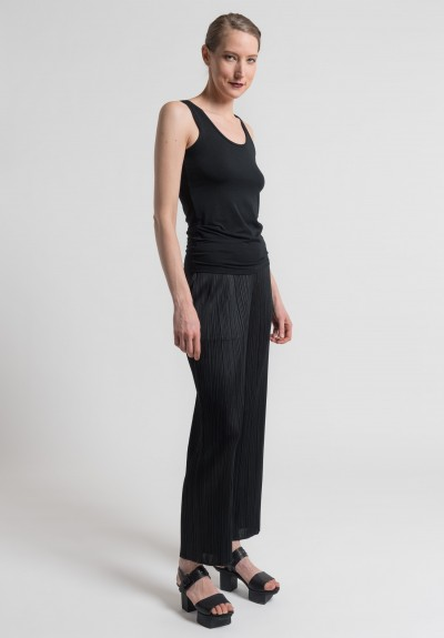 Issey Miyake Pleats Please Straight Leg Pants in Black