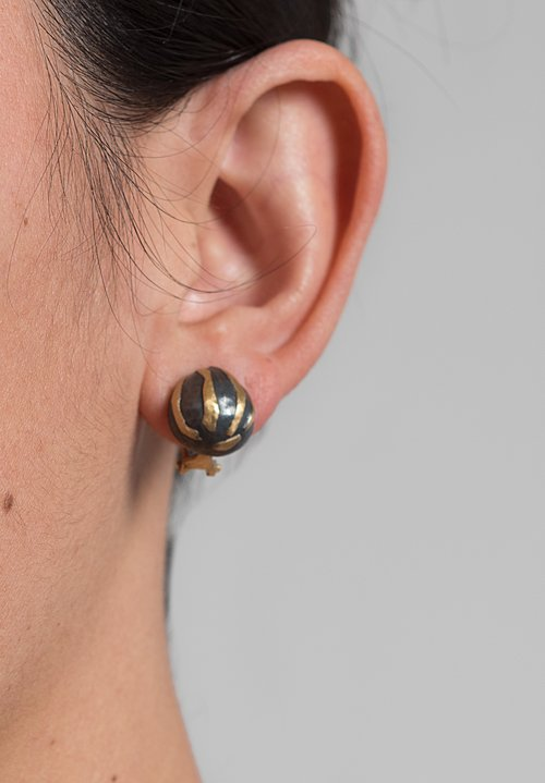 Yossi Harari 24k & Oxidized Gilver Libra Earrings