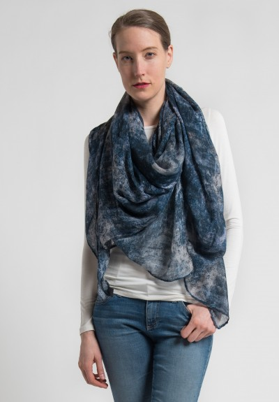 Ever Veritas Fresco Printed Scarf in Indigo