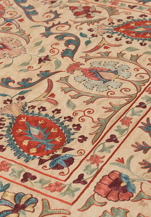 Shobhan Porter Vintage Uzbek Embroidered Suzani Throw in Cream