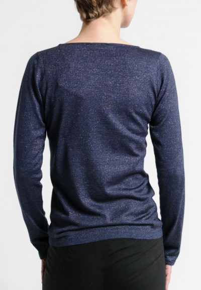 Brunello Cucinelli Fitted Bateau Neck Paillette Sweater in Navy