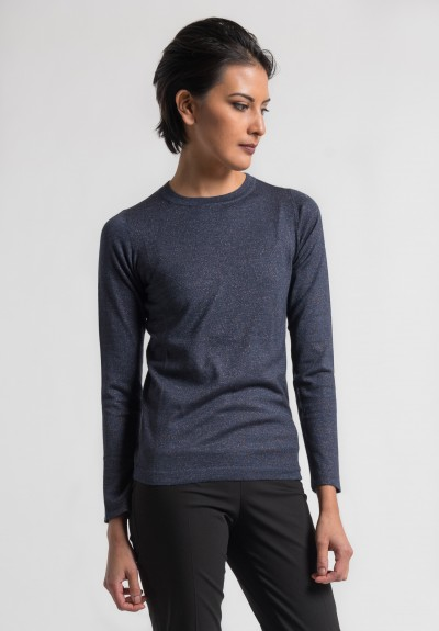 Brunello Cucinelli Fitted Crew Neck Paillette Sweater in Navy
