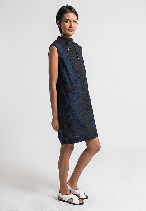 Sacai Pineapple Embroidery Dress in Navy/Black