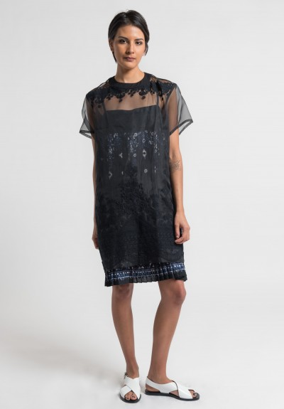 Sacai Tribal Lace Dress in Black