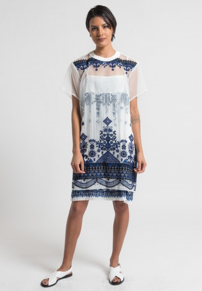 Sacai Tribal Lace Dress in Off White