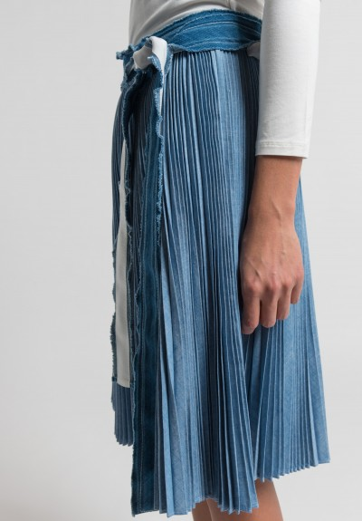 Sacai Pleated Dungaree Wrap Skirt in Blue