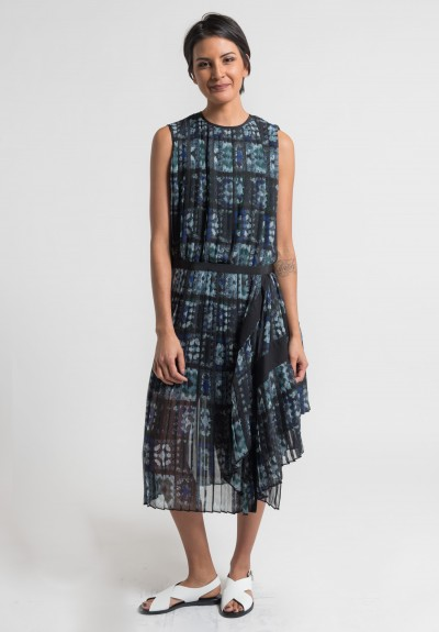 Sacai Pleated Crochet Dress in Grey