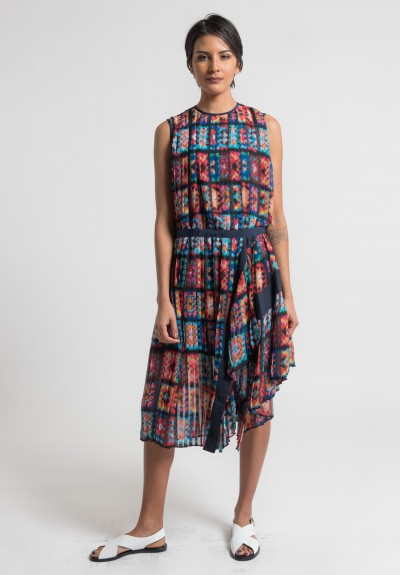 Sacai Pleated Crochet Dress in Multi