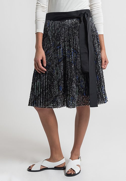 Sacai Pleated Crochet Lace Wrap Skirt in Grey
