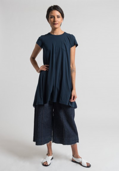 Sacai Over-Dyed Jersey Pleated Insert Tunic Dress in Navy