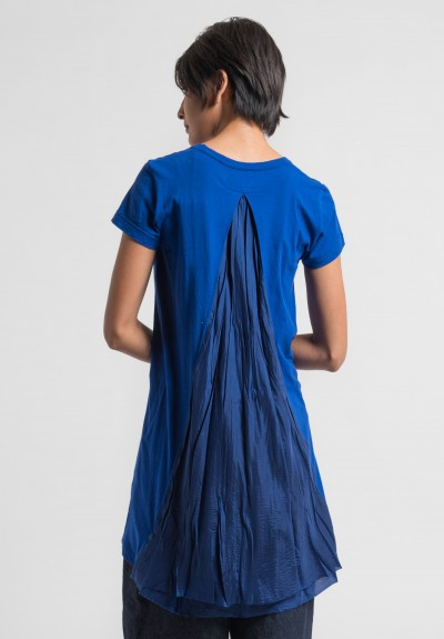 Sacai Over-Dyed Jersey Pleated Insert Tunic Dress in Blue