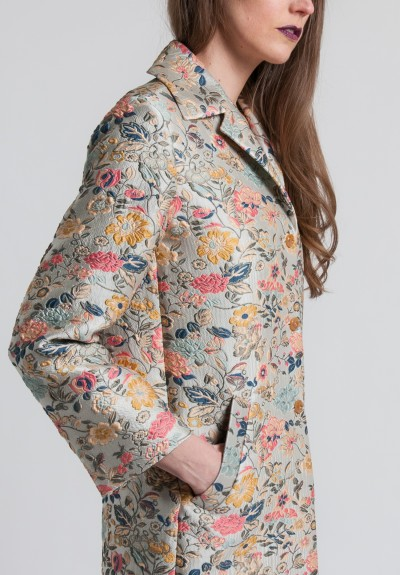 Etro Floral Jacquard Lightweight Coat in Pale Blue