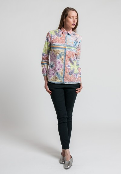 Etro Cotton Intricate Paisley Print Shirt in Multi-Color