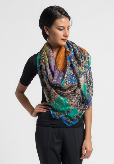 Etro Bombay Paisley and Floral Silk Scarf in Multi Color