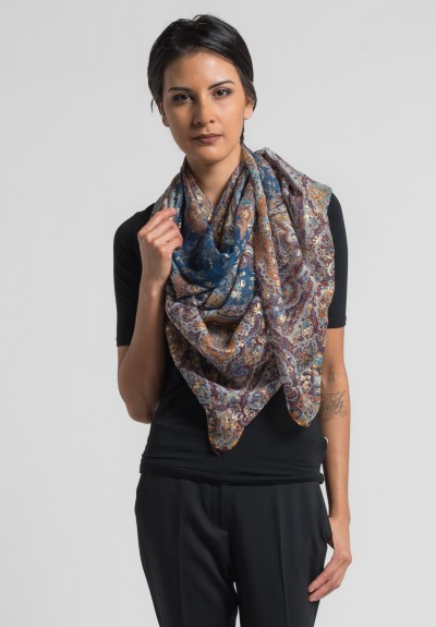 Etro Bombay Paisley and Floral Silk Scarf in Blue/Maroon