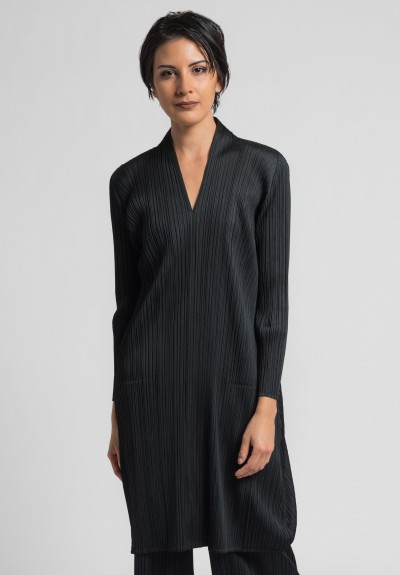 Issey Miyake Pleats Please V-Neck Pleated Tunic/Dress in Black