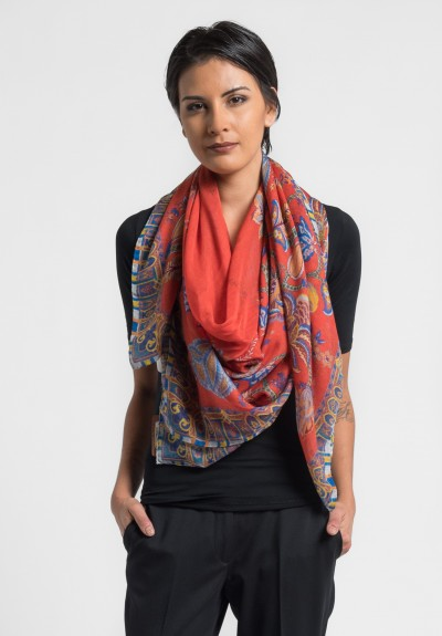Etro Cashmere/Silk Lightweight Floral Scarf in Red
