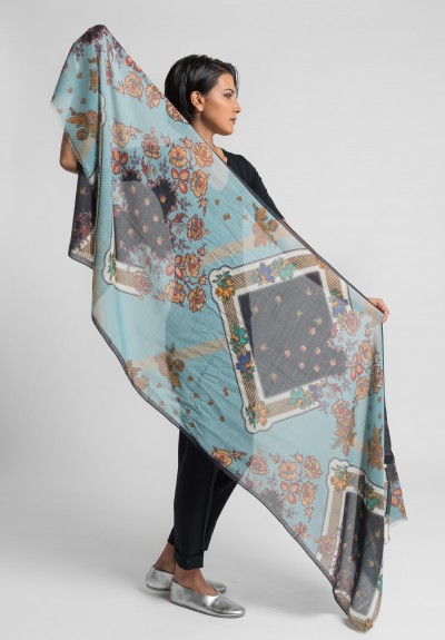 Etro Silk/Wool Long Floral Scarf in Light Blue