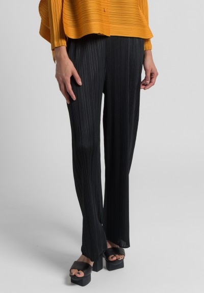 Issey Miyake Pleats Please Relaxed Leg Pants in Black