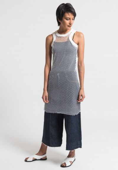 Sacai Cotton Fishnet Tank Dress in Off White