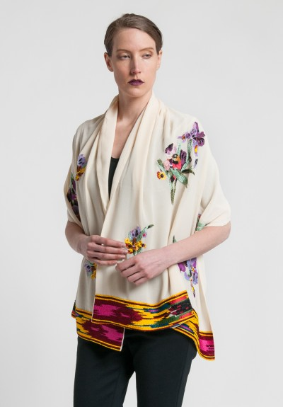 Etro Silk Embroidered & Beaded Scarf in Cream