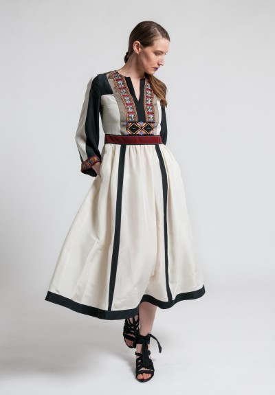 Etro Silk Embroidered & Beaded Long Dress in White/Black