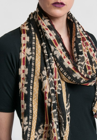 Etro Sheer Stripes and Floral Scarf in Black/Tan