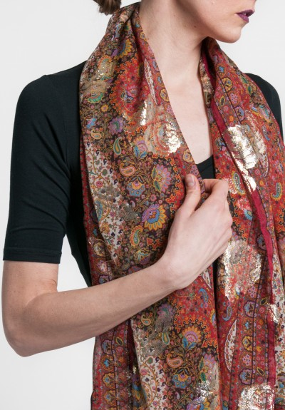 Etro Silk/Metallic Floral & Paisley Scarf in Red