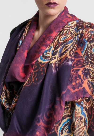 Etro Cashmere/Silk Lightweight Print Scarf in Purple
