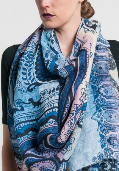 Etro Linen Large Paisley Scarf in Blue