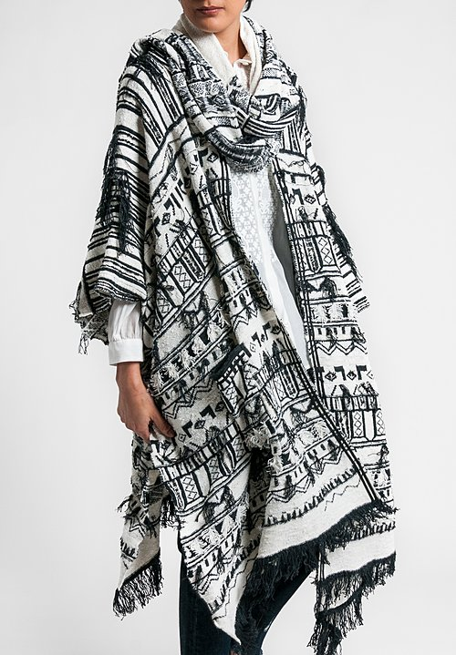Etro Runway Silk Knit Fringe Poncho in Black/White