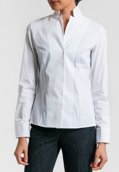 Akris Architecture Collection Stand Collar Shirt in White