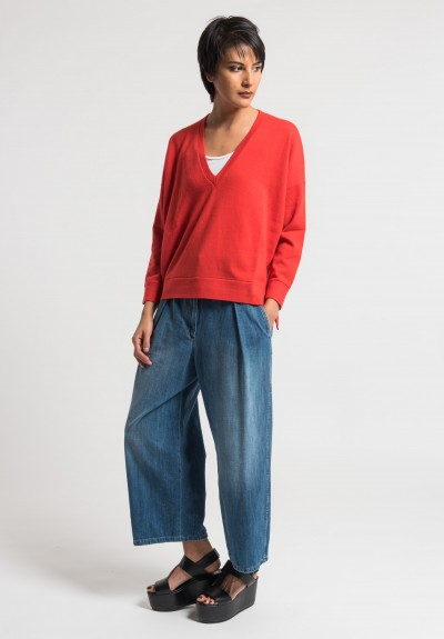 Brunello Cucinelli Cashmere Boxy V-Neck Sweater in Bright Red