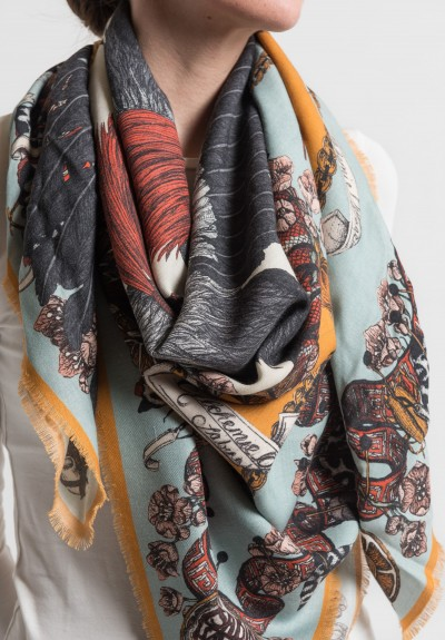 Sabina Savage The Cranes of Canton Scarf in Teal/Gold