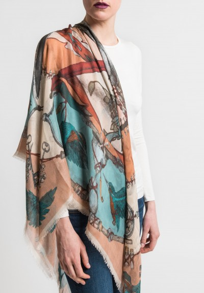 Sabina Savage The Qing Kingfishers Sheer Scarf in Ballet/Teal