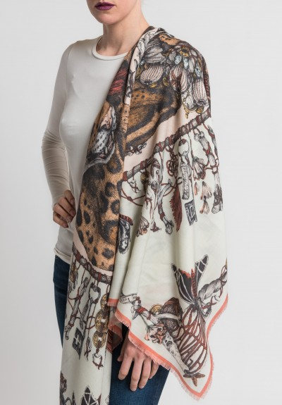 Sabina Savage The Lapsang Leopards Scarf in Green Tea/Blush