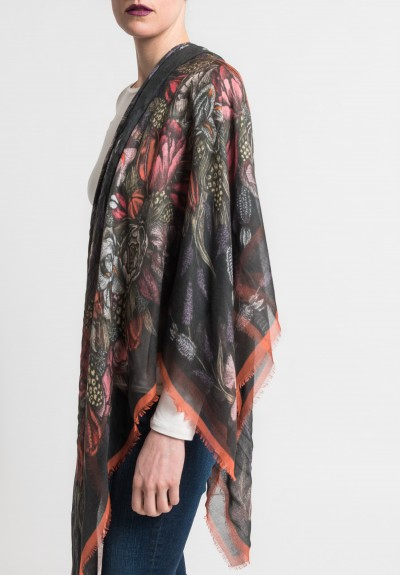 Sabina Savage Corona Botanica Sheer Scarf in Charcoal/Raspberry