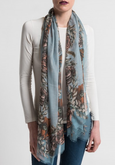 Sabina Savage The Poppy and Peony Long Sheer Scarf in Storm/Slate