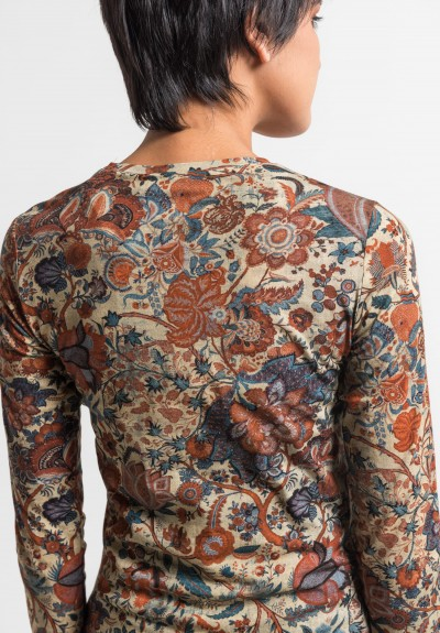 Gary Graham Long Sleeve Indienne Floral Top in Red