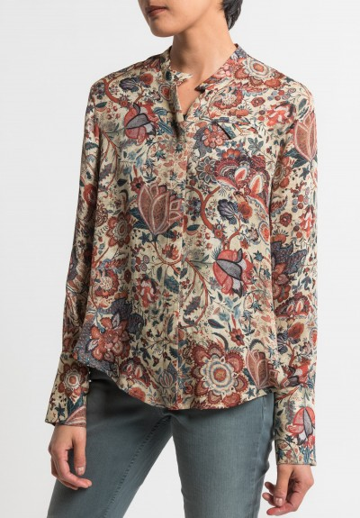 Gary Graham Silk Indienne Floral Blouse in Red