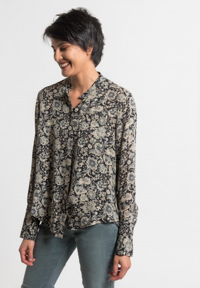 Gary Graham Silk Indienne Floral Blouse in Black