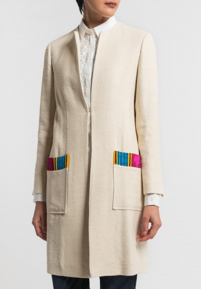 Etro Silk/Hemp Collarless Jacket in Ecru