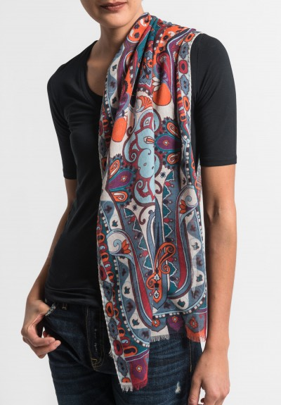 Etro Lightweight Silk/Wool Paisley Scarf in Teal/Red