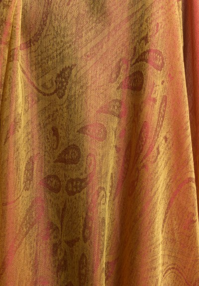Etro Lightweight Cashmere/Silk Subtle Paisley Scarf in Gold/Red
