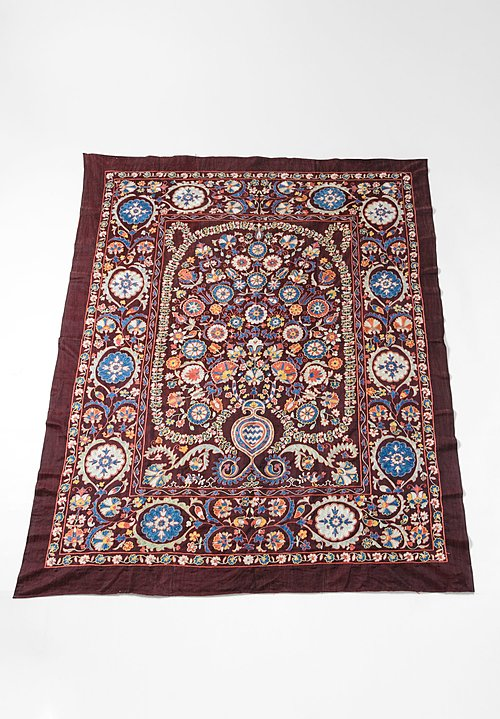 Shobhan Porter Vintage Uzbek Embroidered Suzani Throw in Red
