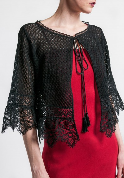 Alberta Ferretti Lace Cardigan in Black