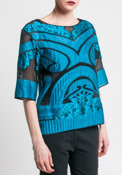 Alberta Ferretti Sheer Boxy Top in Blue