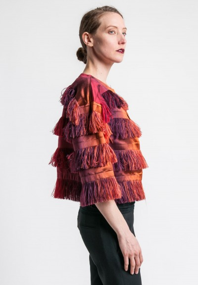 Alberta Ferretti Fringe Jacket in Red Ombre