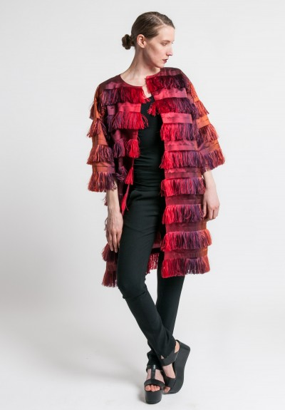 Alberta Ferretti Fringe Long Jacket in Red Ombre