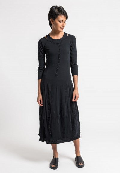Rundholz Black Label 2-Layer Cotton Button Dress in Black